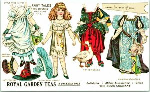 Vintage PAPER DOLL Postcard Fairy Tales, New Dressing Doll Card No, 6 c1990s