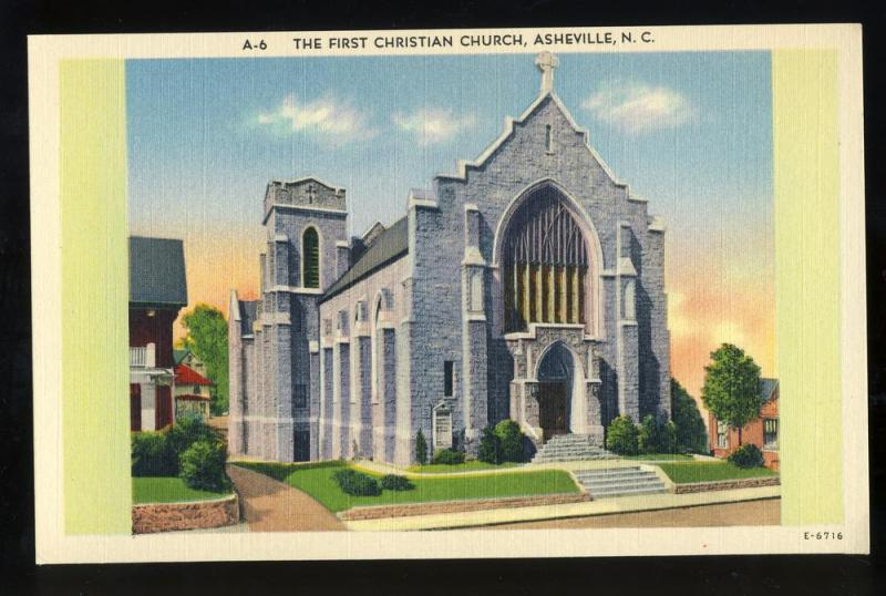 Asheville, NC Postcard, First Christian Church