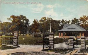 Decatur Illinois c1910 Postcard Entrance Gates Fairview Park