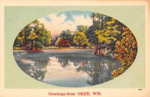 Okee Wisconsin~View on Lake~Trees Reflect~1940s Linen Postcard