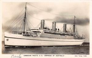 Canadian Pacific Line SS Empress of Australia At Sea Real Photo Postcard J66380