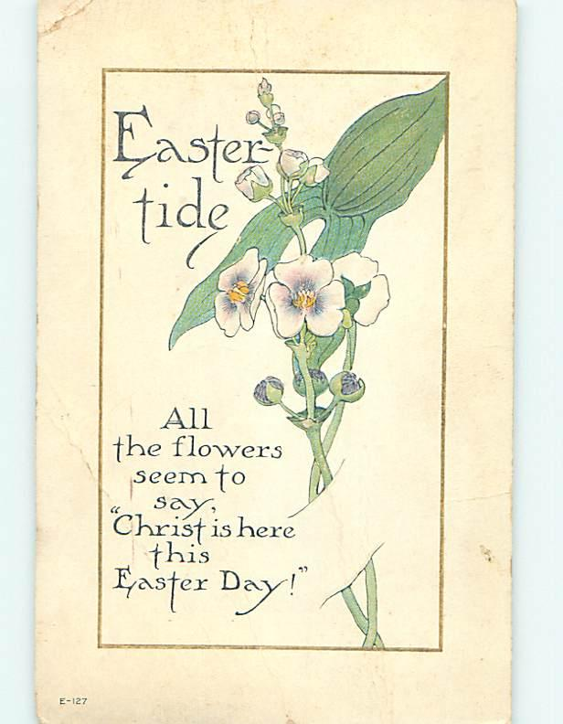 Bent Corner 1916 Easter FLOWERS LOOK LIKE THEY ARE TUCKED INTO POSTCARD o5872