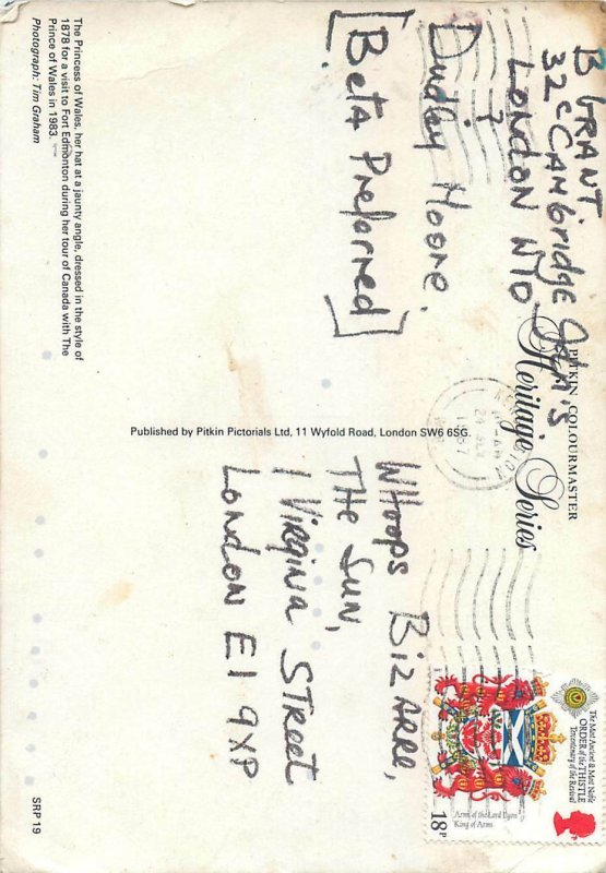 Royalty atypical 12x17cm postcard Her royal highness Princess of Wales