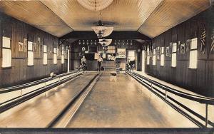 Catskills NY West Kill House Bowling Alley Interior 3 Lanes RPPC Postcard