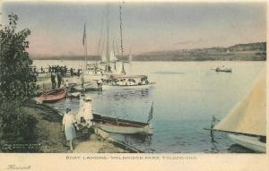 Boat Landing Walbridge Park Toledo Ohio hand colored C-1915  Postcard 4604