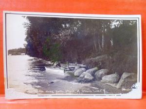 Postcard IA Storm Lake 1910 Scene Along North Shore of Storm Lake RPPC Photo