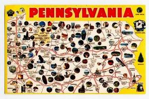 Postcard Pennsylvania State Map Keystone State Standard View Card