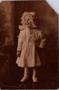 RPPC toddler lot cute kids c1905-1925 great outfits bonnet drop waist dress