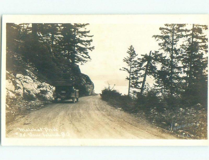 Pre-1918 rppc OLD CAR ON MALAHAT DRIVE Vancouver Island BC W1093