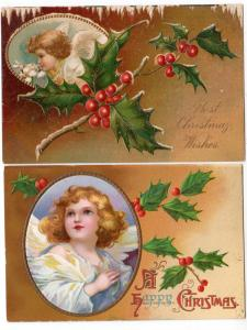 2 - Christmas Cards with Angel & Holly