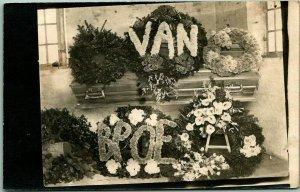 Vintage RPPC Real Photo FUNERAL Postcard w/ BPOE Elks Floral Wreath at Casket