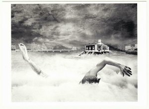 The Swimmer by Max Jacot and Julie Sauter Surreal Flood in Geneva 1987 Postcard