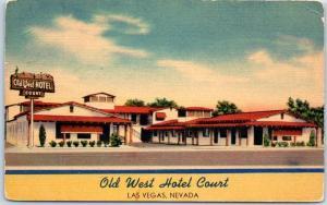 Las Vegas, Nevada Postcard OLD WEST HOTEL COURT South 5th Street Motel Linen