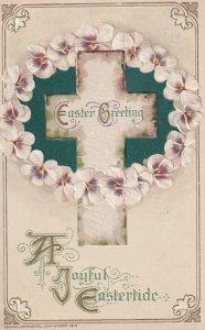 EASTER, PU-1915; A Joyful Eastertide, Cross Surrounded By Flowers