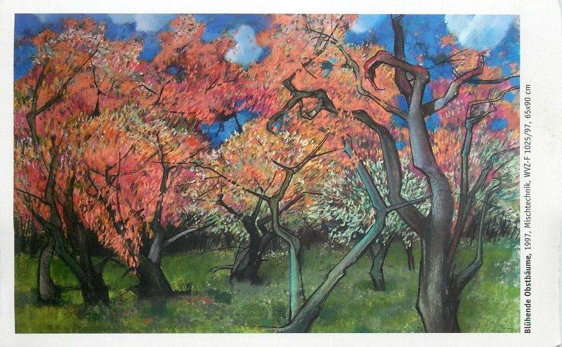 Painting author masterpiece Postcard Gottfried Schuller autumn landscape