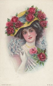 Woman with roses on dress and hat, 1909