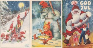 Swedish Snowman Feeding Child Hot Cereal 3x Christmas Postcard s