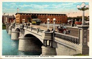 Iowa Des Moines Trolley On New Locust Street Bridge and Coliseum 1934 Curteich