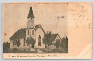 Mason City Iowa~Evangelical Lutheran St Jacobus-Kirche~ Church & Parsonage~1907