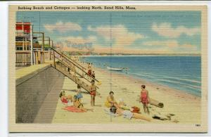 Beach Scene Cottages Sand Hills Massachusetts 1940s linen postcard