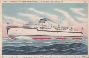 S S Princess Anne and Ferry Boat Between Cape Charles and Norfolk Virginia 1938