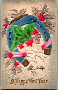 Vtg en Relief & Aérographe Carte Postale 1914 Un Bonne Année Fer à Cheval Houx