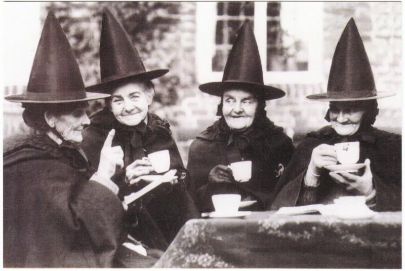 Witch Coven at Tea in Norfolk UK Wicca Halloween Repro