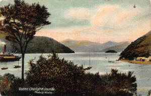 New Zealand Queen Charlotte Sounds Boats Panorama Postcard