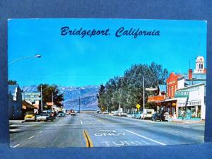 Postcard CA Bridgeport Vintage Downtown Street View Old Cars Stores