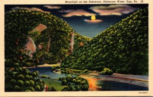 Pennsylvania Delaware Water Gap Moonlight On The Delaware Curteich