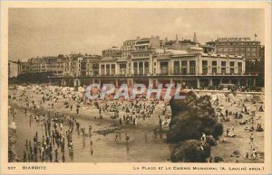 Old Postcard Biarritz The Beach and the Casino Municipal