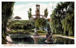 Rhode Island Central Falls ,  Jenks Park , Cogswell Memorial Clock Tower, gli...