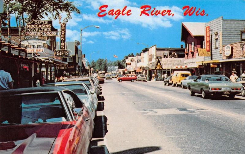 Eagle River Wisconsin~Main Street~Country Store~Live Baits~Kodak~Joca~1970s Cars