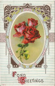 Rich Ruby Red Roses with Art Nouveau Frame Embossed Postcard Vintage Postcard
