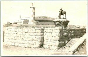 BILLINGS, Montana RPPC Photo Postcard William S. Hart Monument Airport 1946