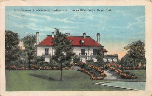 Clement Studebaker's Residence, Sunny Side, South Bend, IN, Early Postcard, Used
