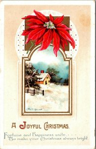 A JOYFUL CHRISTMAS, 1900-20s GREETING CARD VINTAGE - postcard - PC
