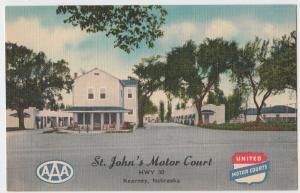 Old KEARNEY Nebraska Nebr Postcard Roadside Linen ST JOHN MOTOR COURT Motel AAA