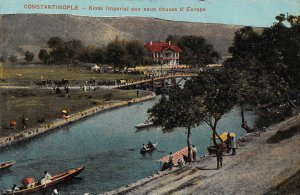 Turkey Constantinople Kiosk Imperial aux Douces d'Europe Boats River Postcard