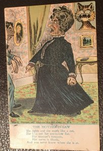 Vintage snarling tyrannical mean-spirited Mother-In-Law limerick card 1905