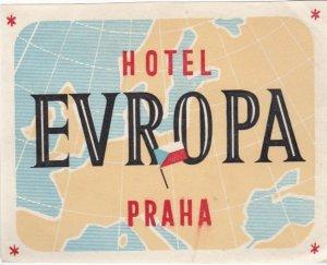 Czechoslovakia Praha Hotel Europa Vintage Luggage Label lbl0877