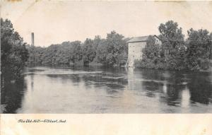 Elkhart Indiana~Old Mill on Water~Smoke Stack in Distance~c1910 B&W Postcard
