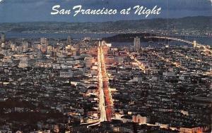 USA San Francisco at Night Bay Bridge Panoramic view