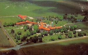 Sullivan Illinois~Red Roofs of the Masonic Home~Air View~1950s Postcard