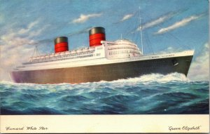 1960 - RMS QUEEN ELIZABETH Underway, Cunard White Star Line Ocean Liner Postcard