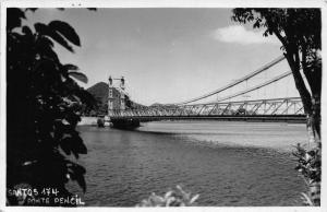 Brazil Santos Ponte Pencil Bridge River Postcard