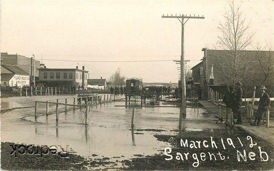 NE, Sargent, Nebraska, Flood, RPPC