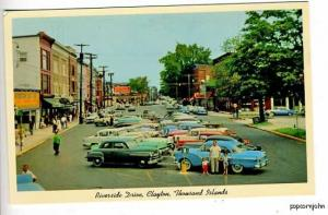 Clayton NY Street View Old Cars Postcard