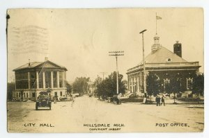 Postcard Hillsdale Mich. Michigan City Hall Post Office RPPC Standard View Card