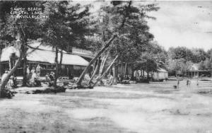 Rockville Connecticut~Crystal Lake Sandy Beach Scene~People by Trees~Lodge~1957